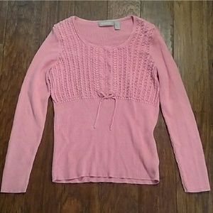 Liz Claiborne pink sweater with bow